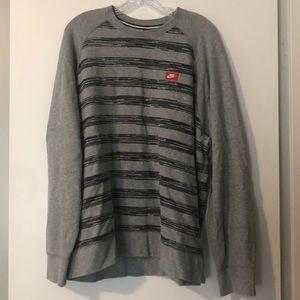 Nike gray and black striped crew sweatshirt